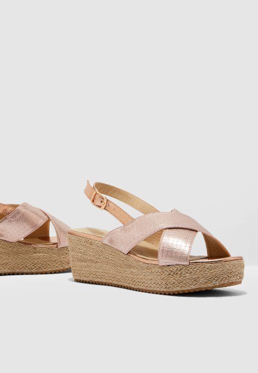 Cross Front Espadrille Flatform Sandal