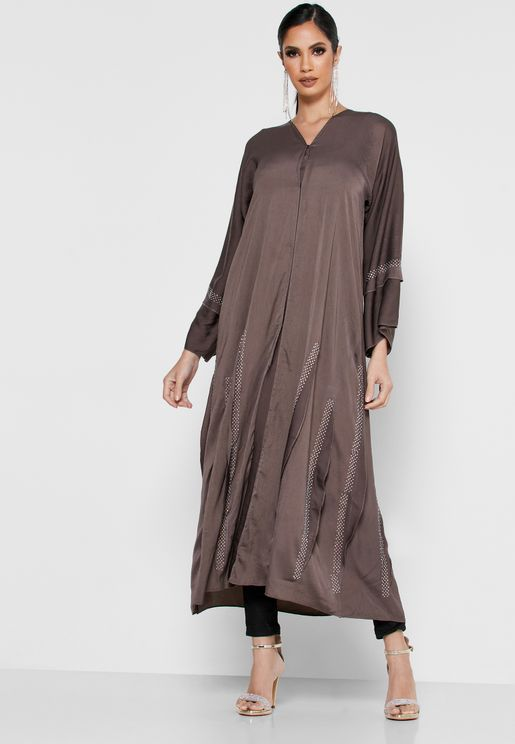 Embellished Tiered Sleeve Abaya