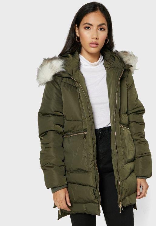 Faux Fur Utility Jacket