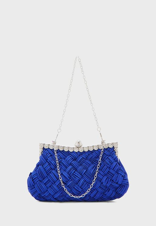 Woven Jewelled Clutch Bag