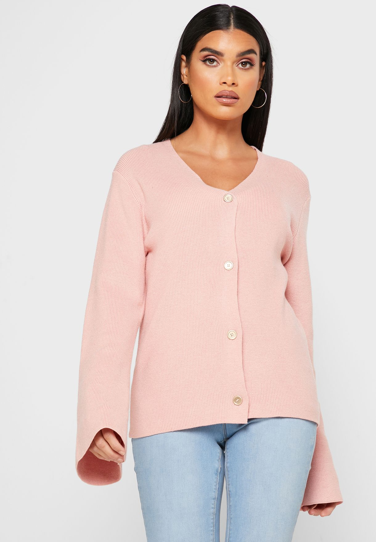Flare Sleeve Button Down Cardigan