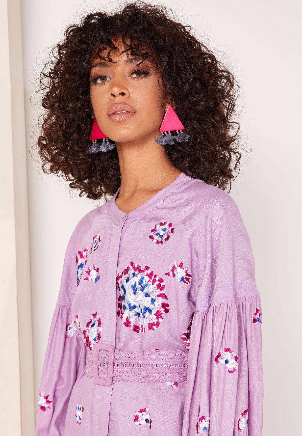Ariana Belted Printed Shirt Dress