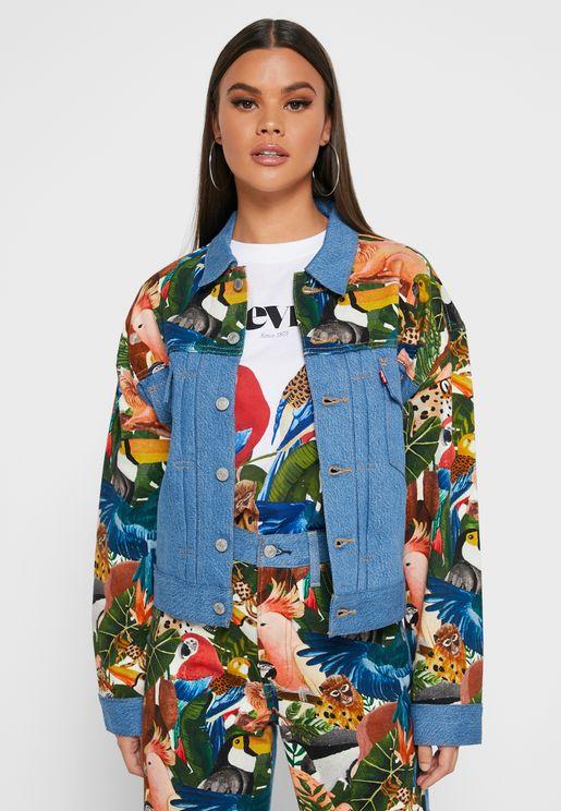 جاكيت جينز بطباعة زهور