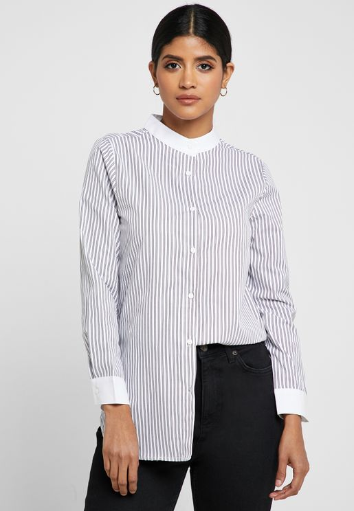 Striped Contrast Trim Shirt