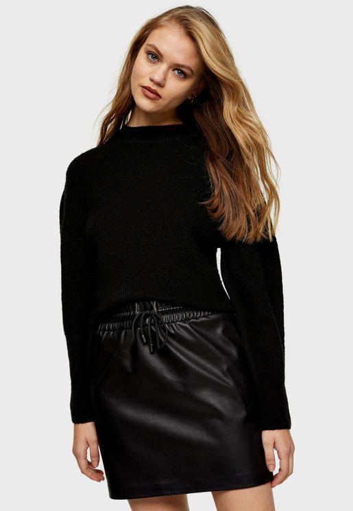 Drawstring Pu Mini Skirt