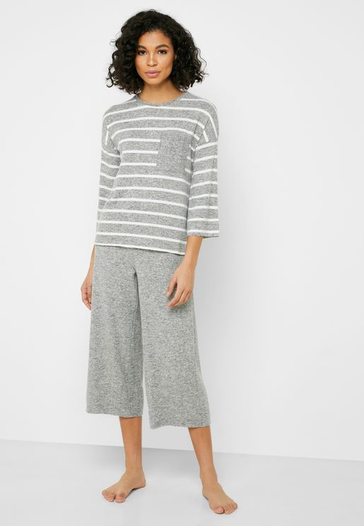Oversize Striped T-Shirt & Wide Leg Pyjama Set
