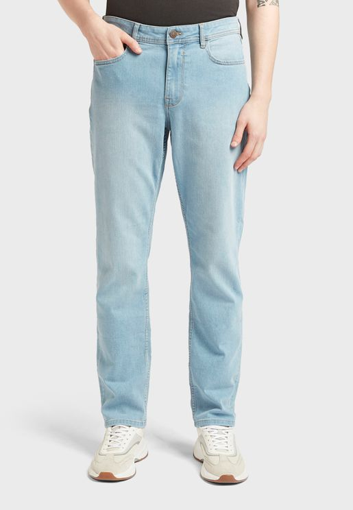 Light Wash Straight Jeans