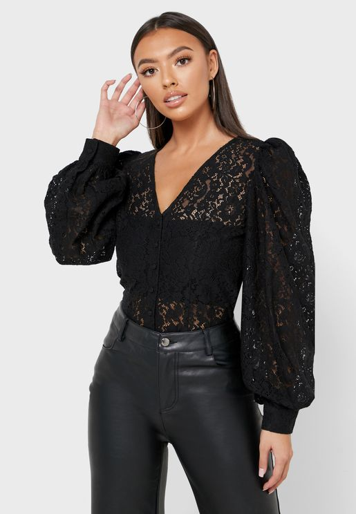 Puff Sleeve Lace Detail Top