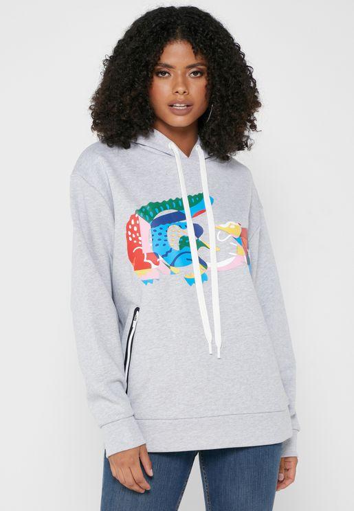 Printed Knitted Hoodie