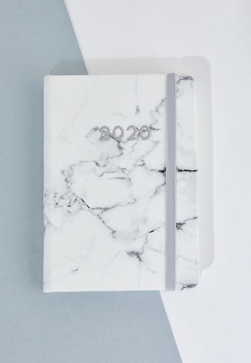 2020 A6 White Marble Weekly Planner
