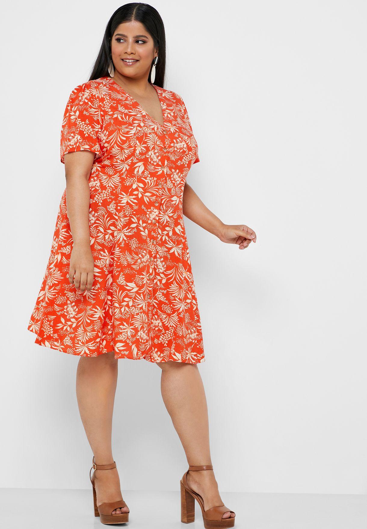 Tropical Print V-Neck Dress