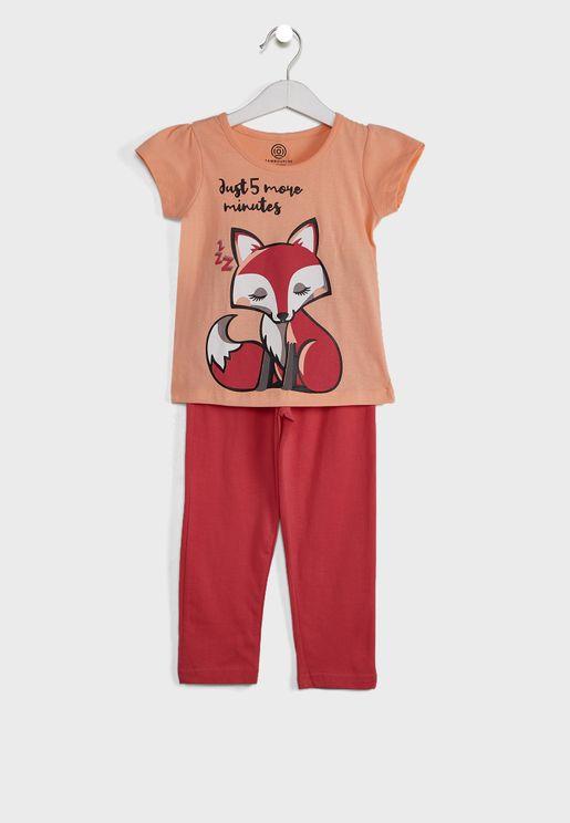 Printed Slogan Pyjama Set
