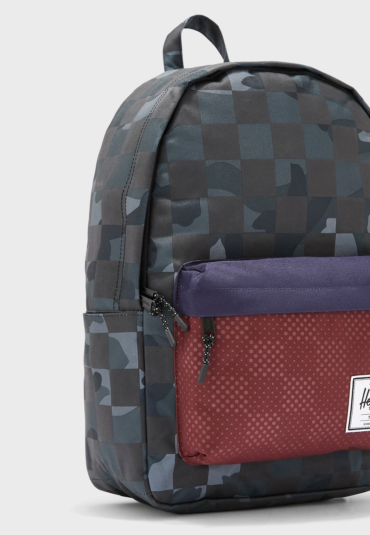 Large Check Print Classic Backpack