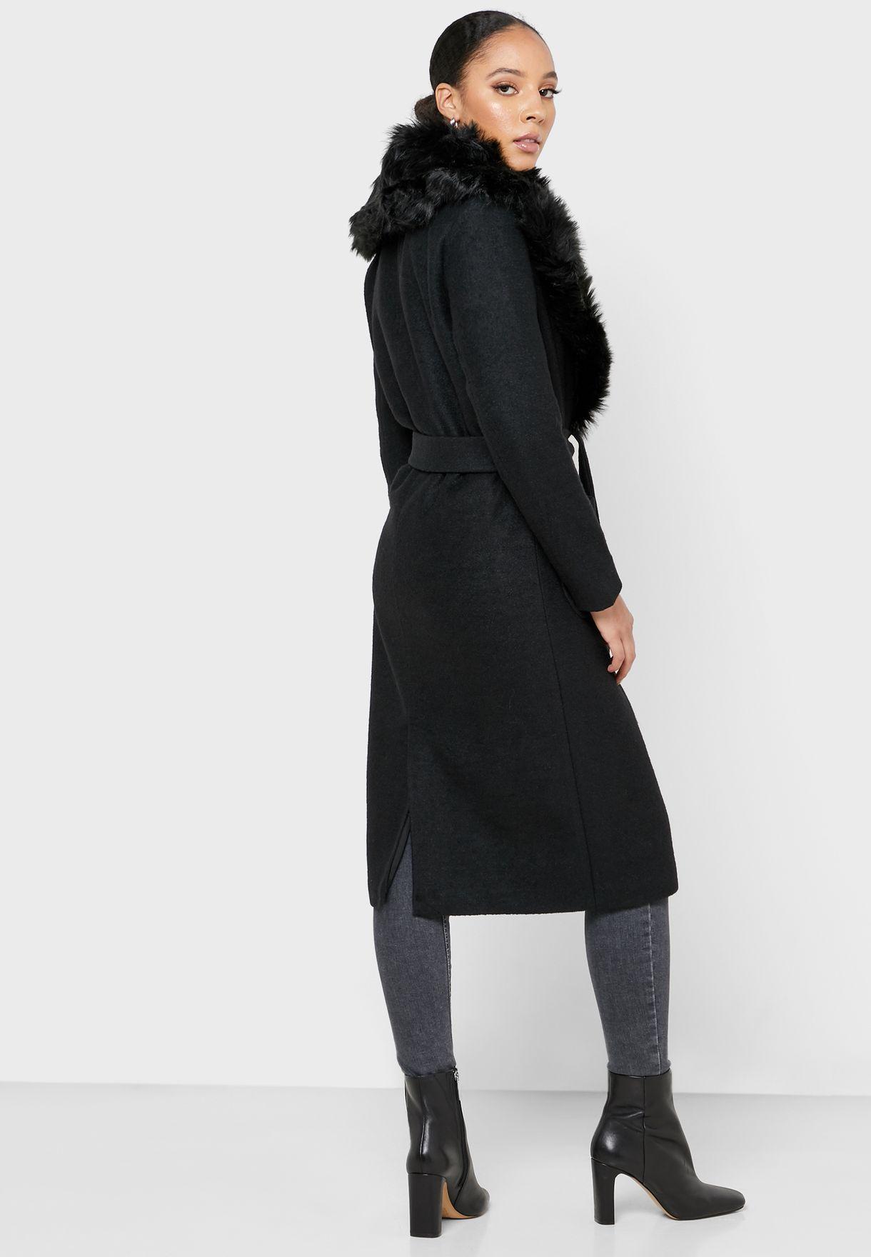 Fur Neck Tie Waist Coat
