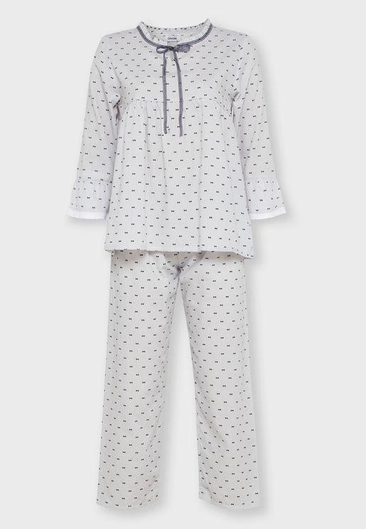 Printed Ruffle Trim Pyjama Set