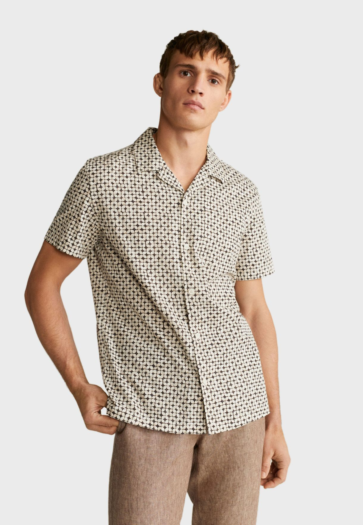 Geometric Print Regular Fit Shirt