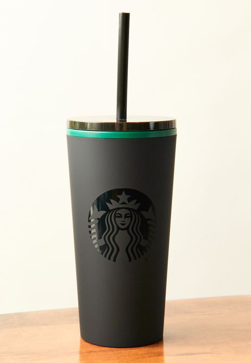 Matte Black Logo Travel Cup With Straw 12Oz