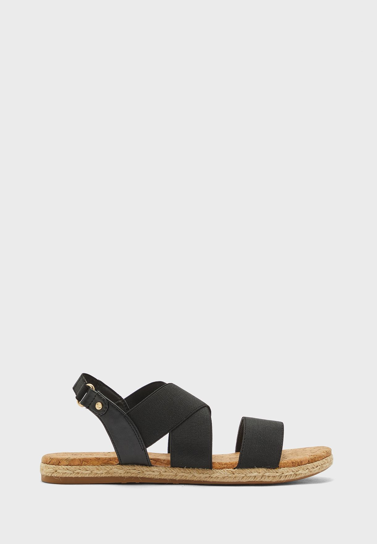 Cross Strap Buckled Flat Sandal