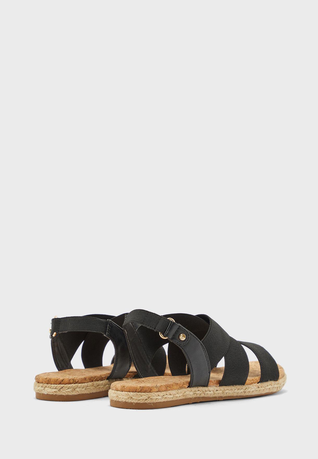 Cross Strap Buckled Flat Sandal