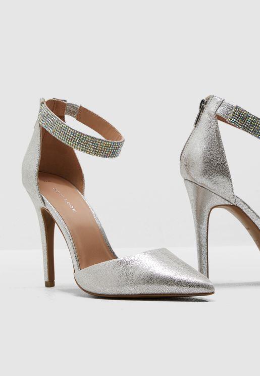 Shazam Ankle Strap Pump - Silver