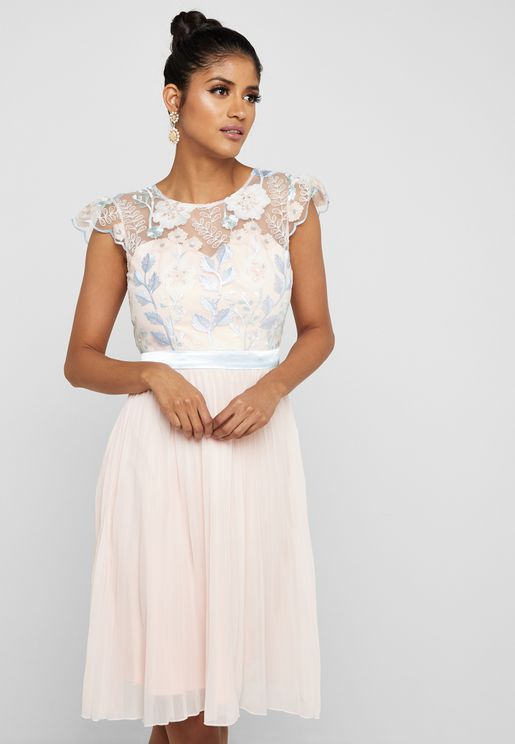 Lace Illusion Pleated Dress