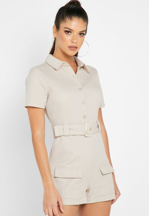 Belted Button Down Playsuit