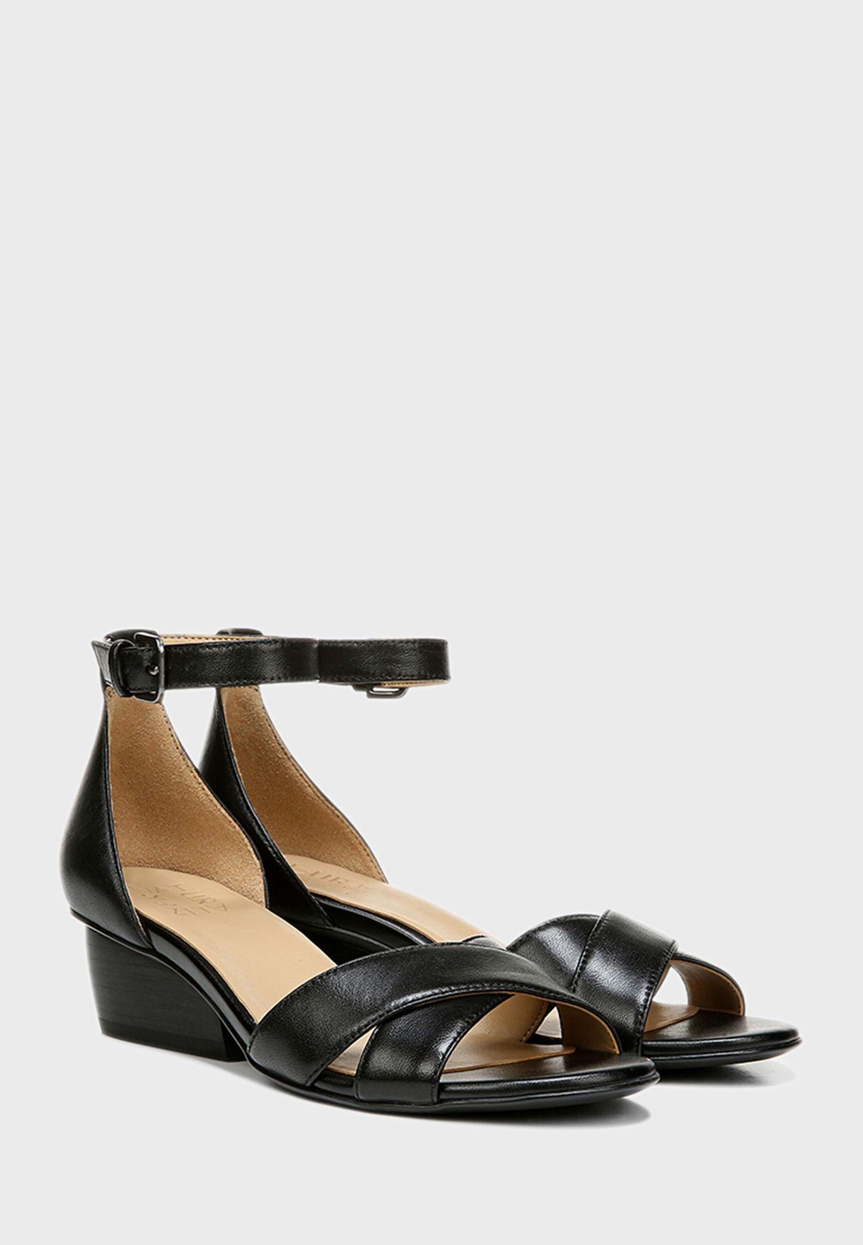 Cross Ankle Strap Low Heel Sandals