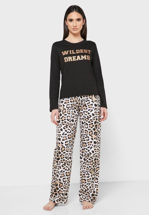 Slogan T-Shirt & Animalprint Pyjama Set