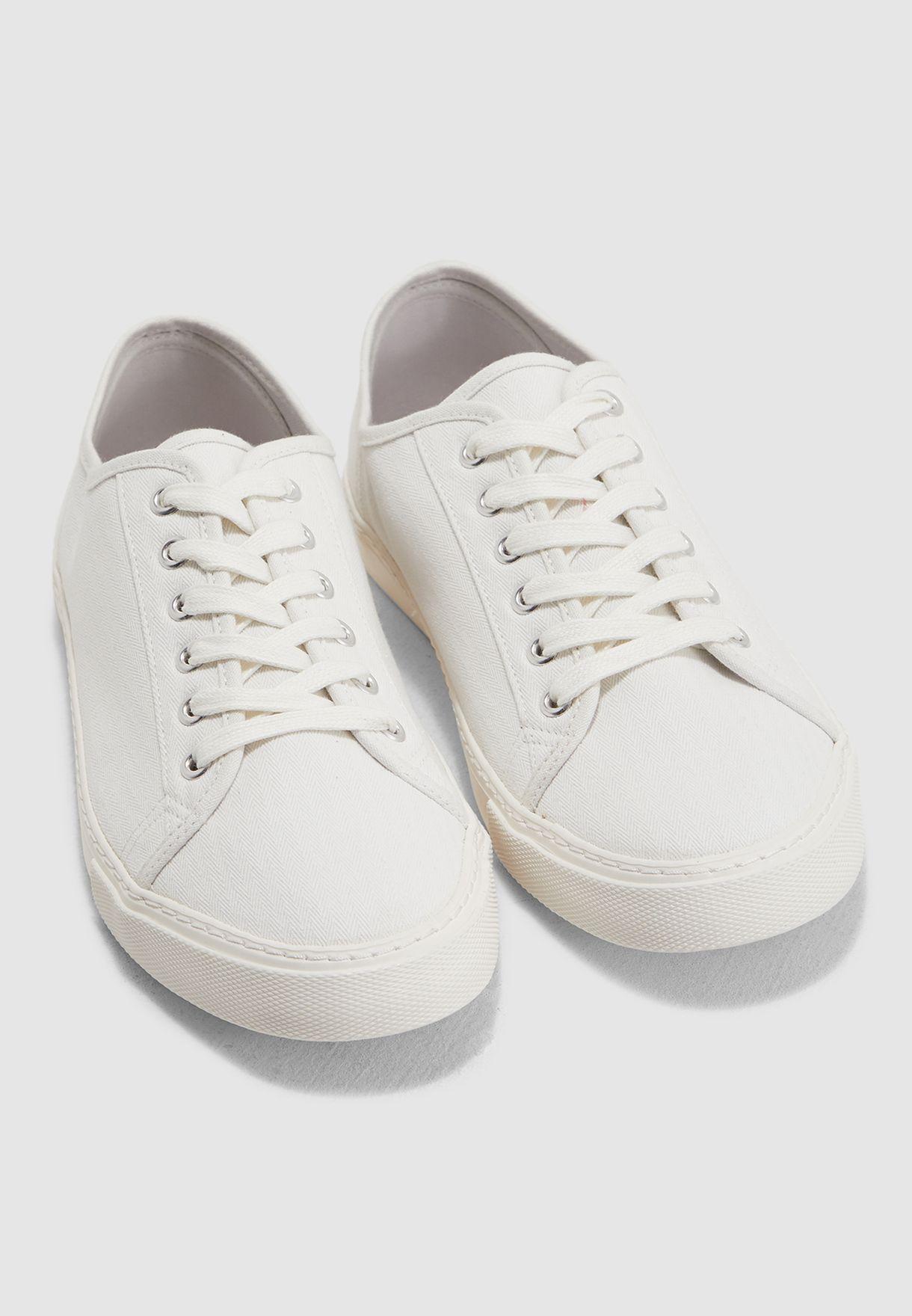Buy Topman white Canvas Felix Trainers