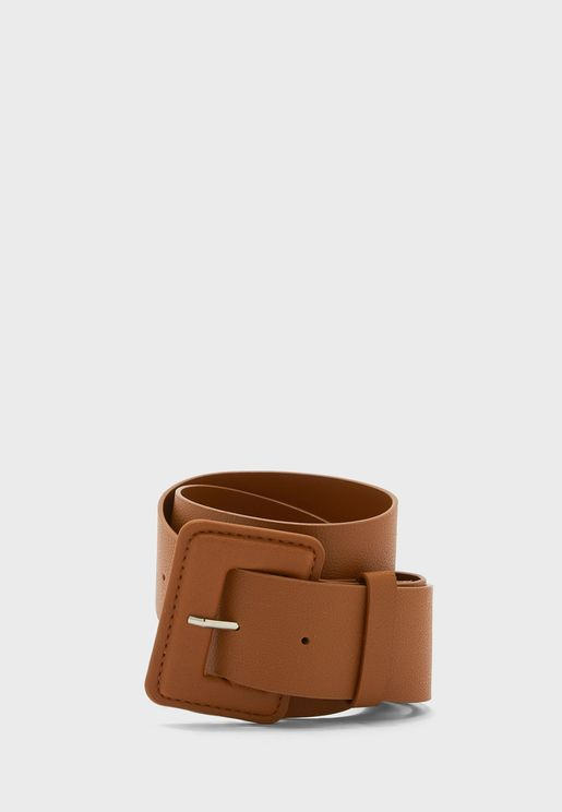 Oversized Square Buckle PU Waistbelt