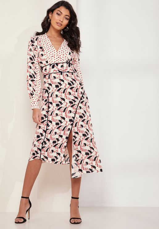 Emmi V-neck Side Split Printed Dress