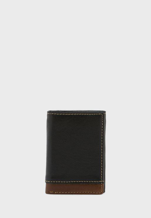 Faux Leather Tri Fold Wallet
