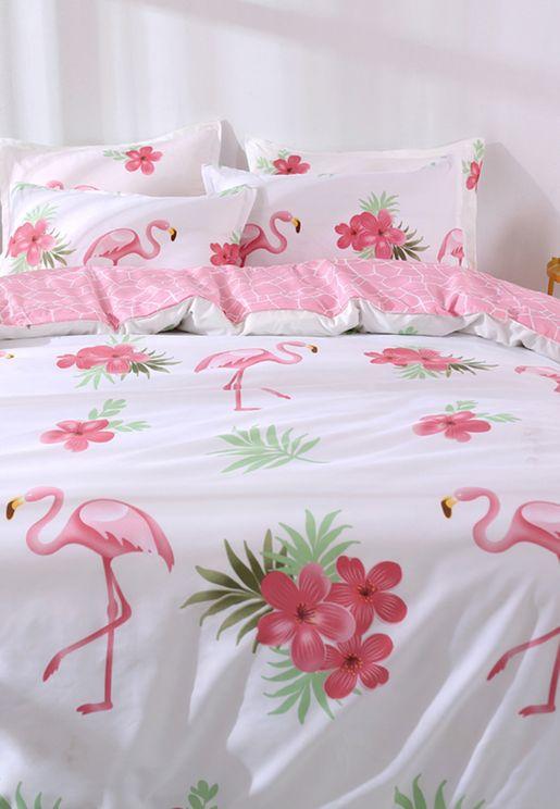 Tropial Flamingo Print Bedding Set - Double 200x200cm