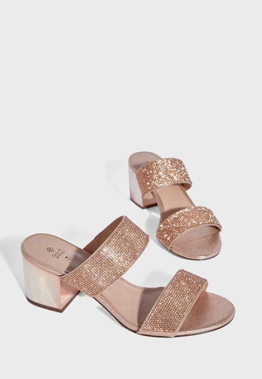 Verroo Double Strap Mid Heel Sandal