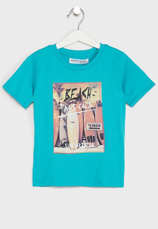 Kids Basic Graphic Roll Sleeve Tee