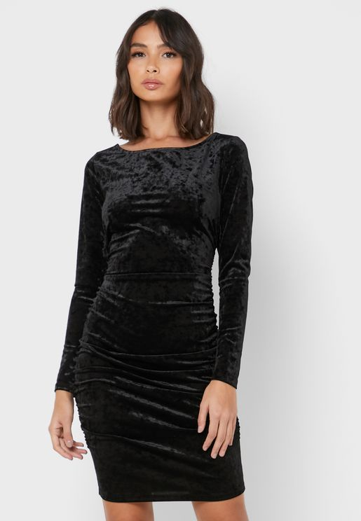 Velvet Ripped Bodycon Dress