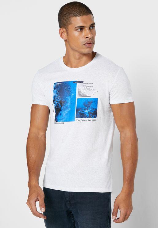 Sea Print Crew Neck T-Shirt