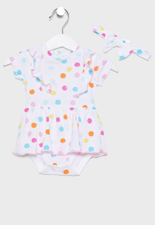 Infant Ruffle Trim Printed Bodysuit+Headband Set