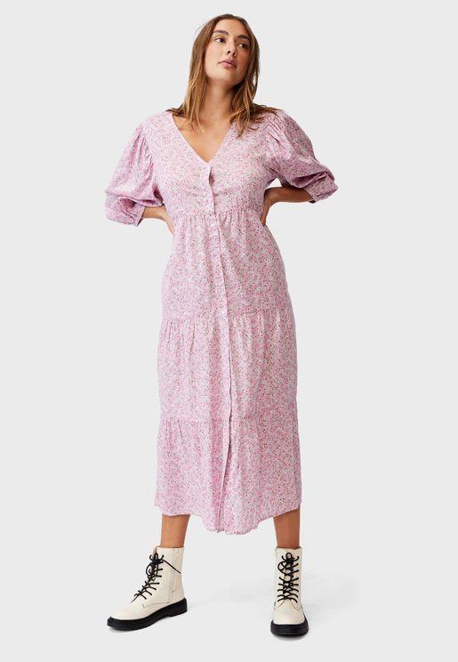 Button Through Printed Midi Dress