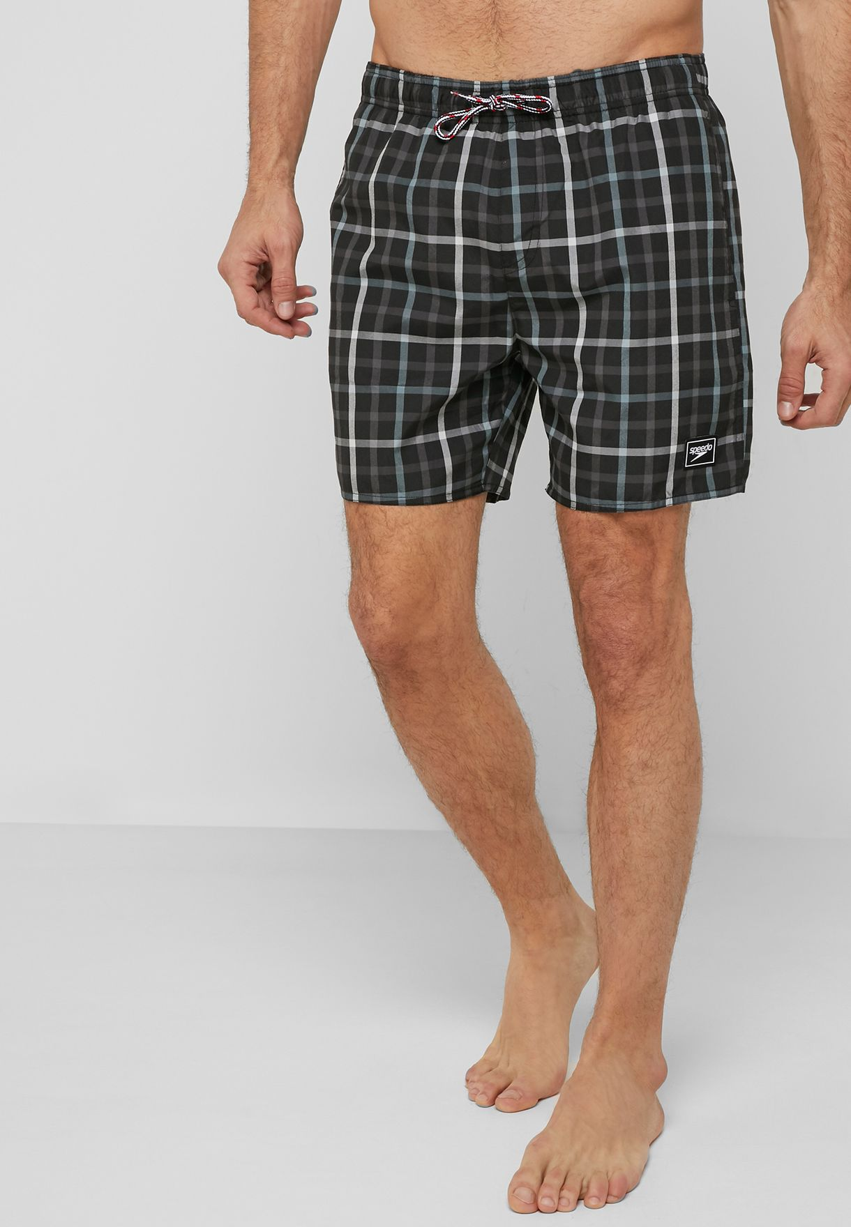 "Leisure Check Print 16"" Shorts"