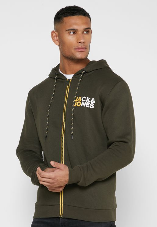 Chest Logo Zip Through Hoodie