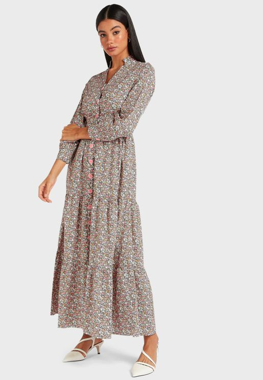 Button Down Tier Maxi Dress
