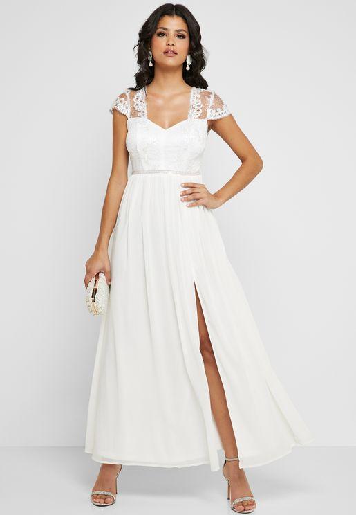 Lace Mesh Sleeve Front Slit Dress