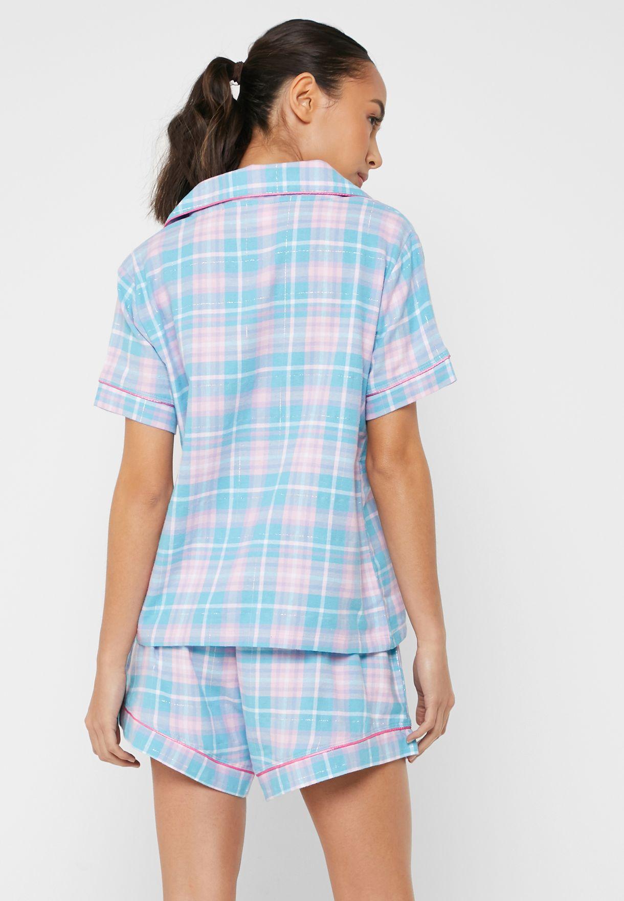 طقم (قميص + شورت) بطبعات مربعات