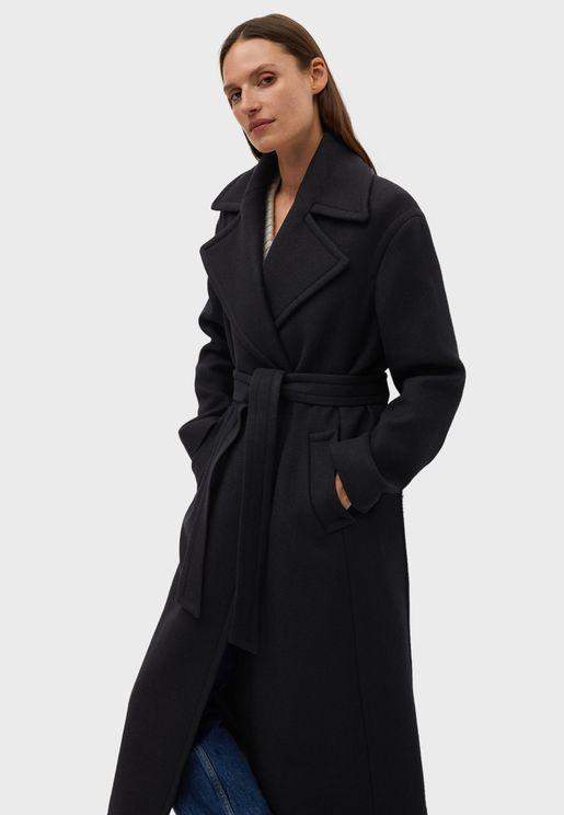 معطف طويل بحزام