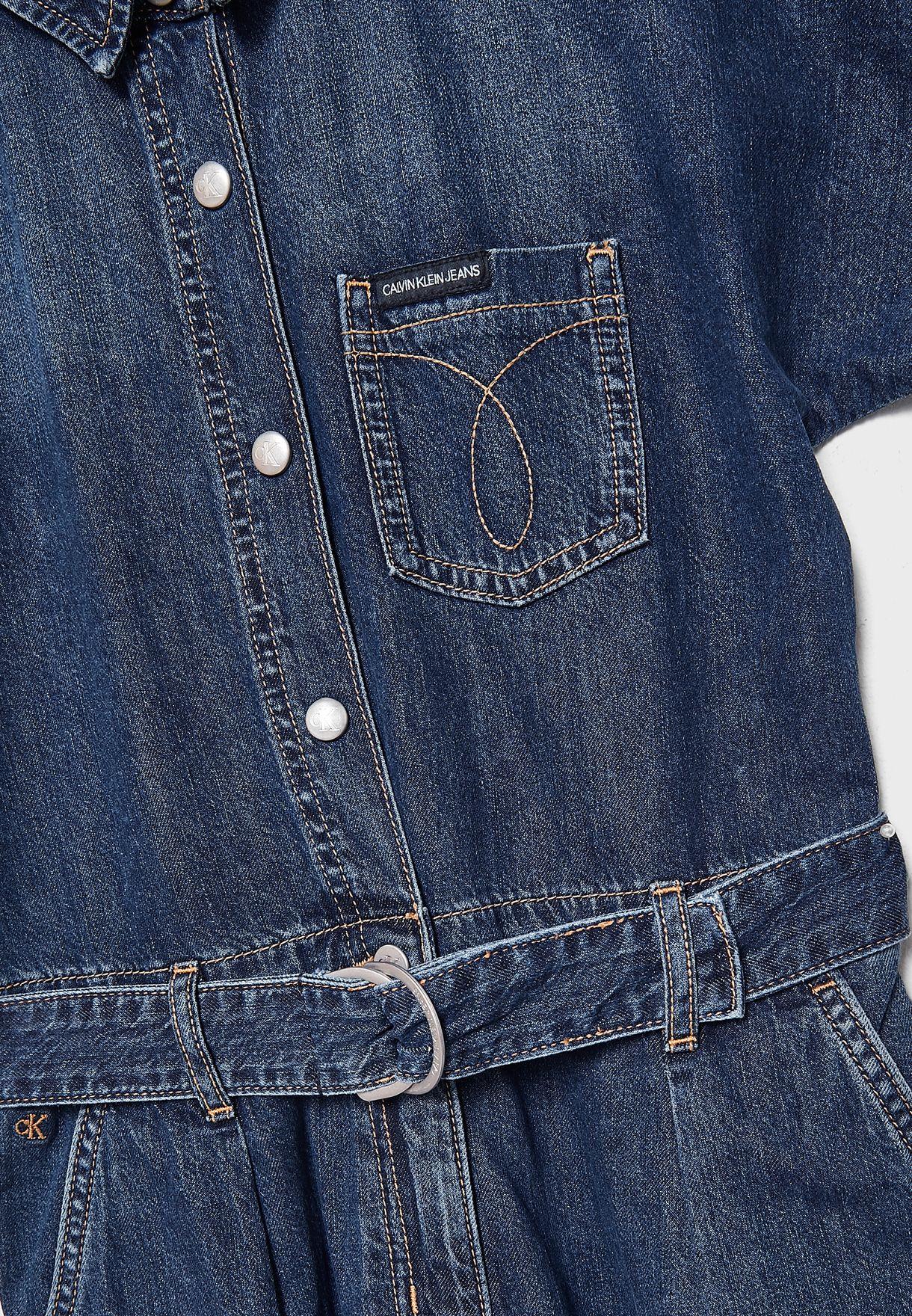 افرول جينز بحزام خصر