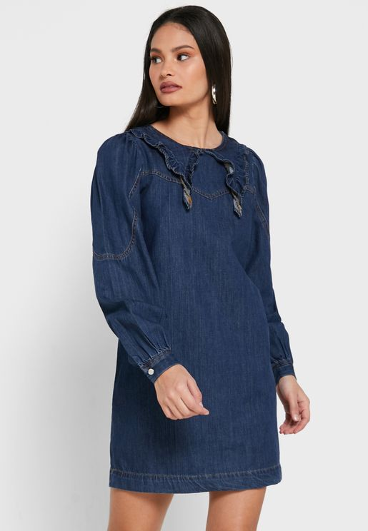 Collar Detail Denim Dress