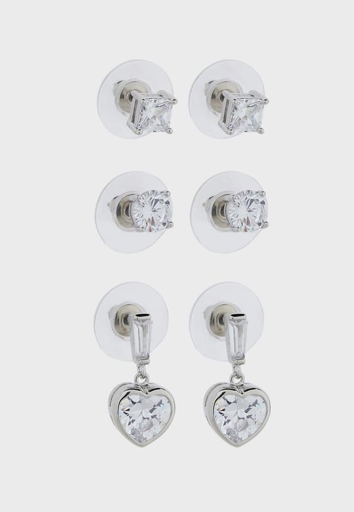 CZ 3 Pack Studs And Heart Drop Earrings