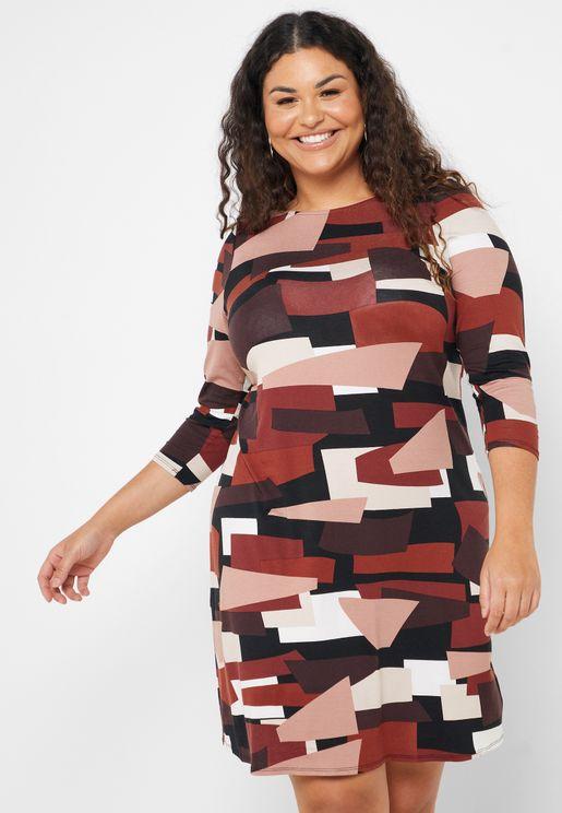 Geo Print Pleated Dress