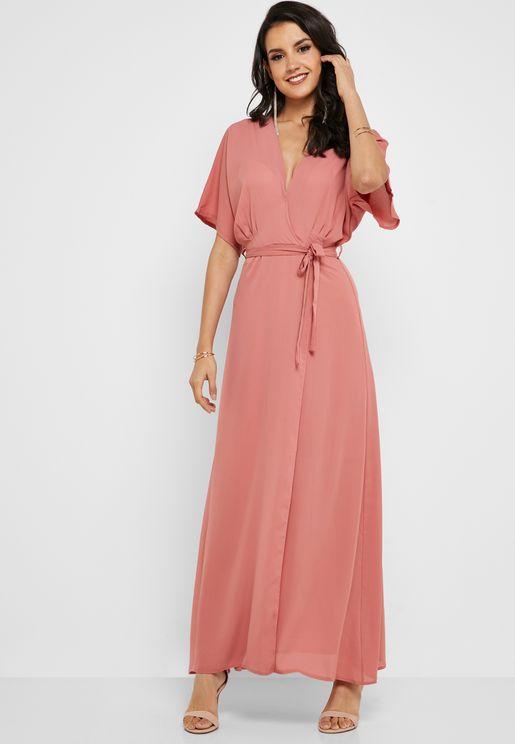 d0fa422a5e9 Kimono Sleeve Wrap Maxi Dress